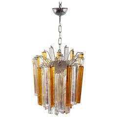 Two-Color Murano Venini Crystal Glass Chandelier, Italy, 1950