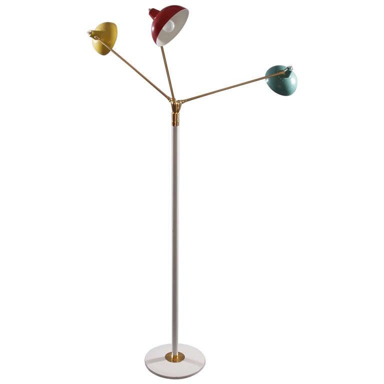 Italian Three Arms Floor Lamp, style of Arredoluce, 1950