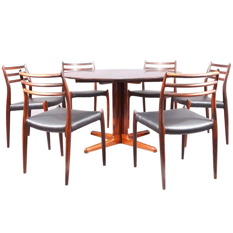 6 danish dining chairs and extensible table rosewood at for Dining table extensible