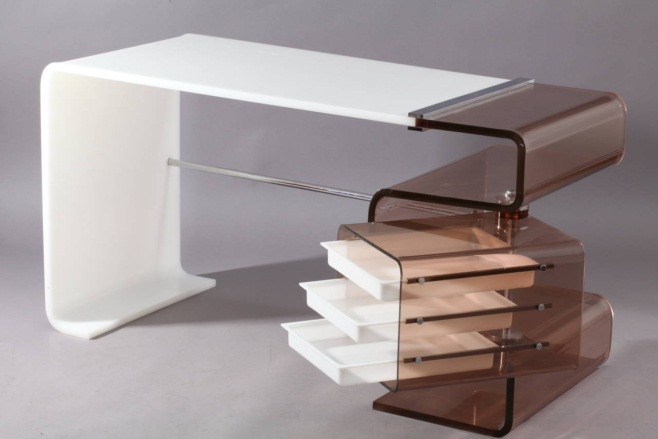molded white and smoked lucite desk by rena dumas france 2