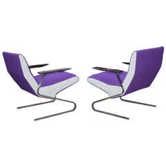 Two Purple Cantilever Chairs by Georg Van Rijk