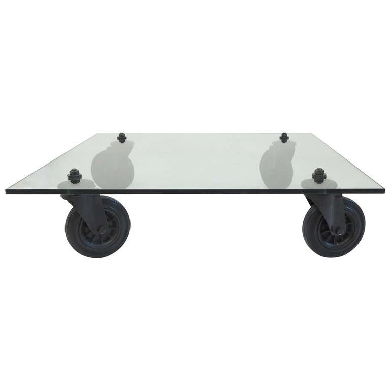Gae Aulenti Design Glass Table On Wheels 1980 At 1stdibs