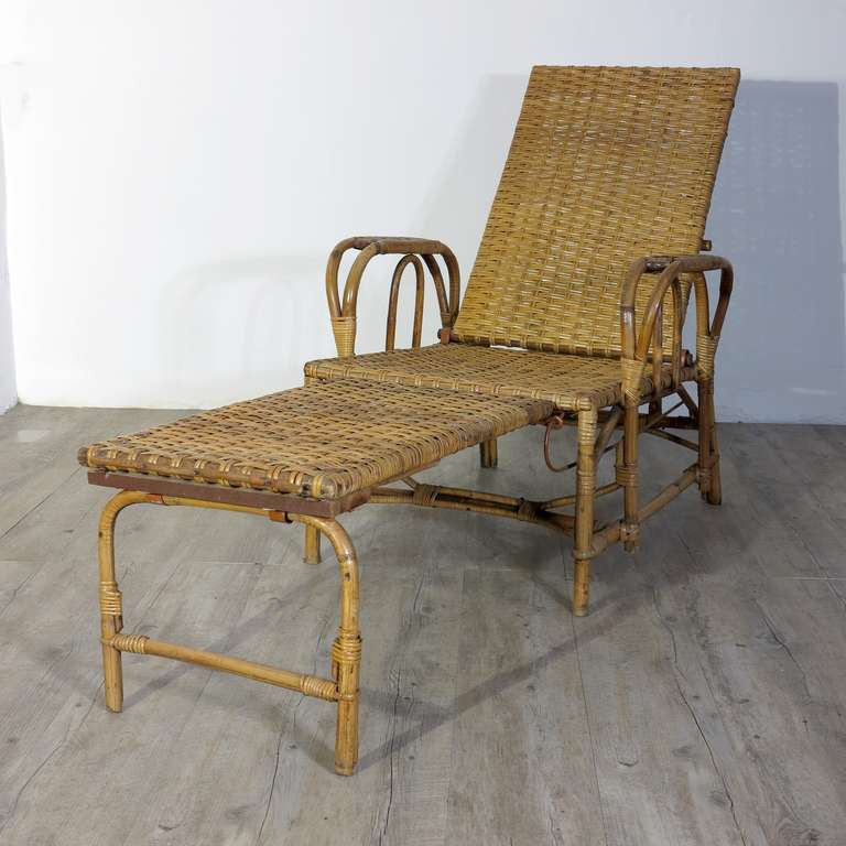 Rattan and bamboo chaise with footrest erich dieckmann for Chaise 1930