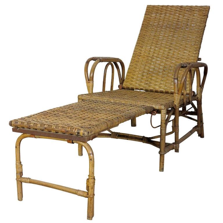 Rattan and bamboo chaise with footrest erich dieckmann for 1930s chaise lounge