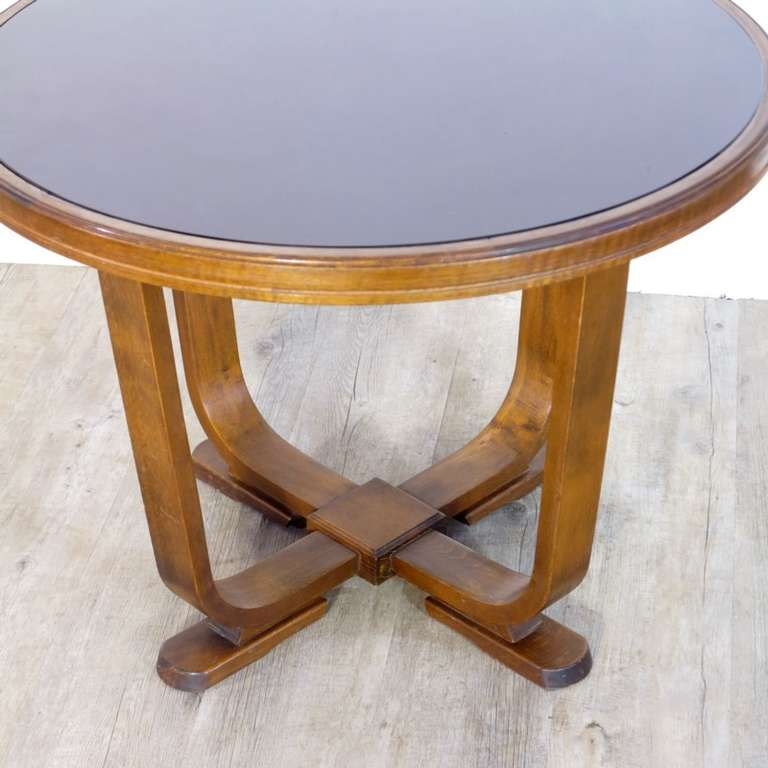 Elegant Art Deco Coffee Table with Black Glass Top 1930
