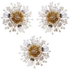 Set of 3 Emil Stejnar Vienna Gold-Plated Snowball Sputnik Wall Lights or Flush-Mounts by Rupert Nikoll
