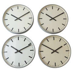 Set of Up to 6 Identical World Time Train Station Swiss Wall Clocks from the 1960s