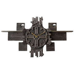 Italian Brutalist Cast Iron Modernist Wall Clock from the 1960s