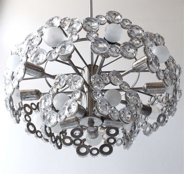 Mid-Century Modern Lobmeyr Austria Chandelier with Big Faceted Crystals from the 1960s For Sale