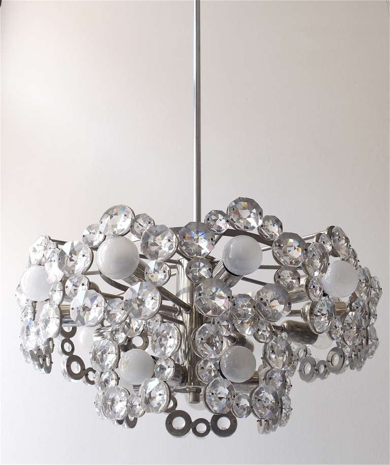 20th Century Lobmeyr Austria Chandelier with Big Faceted Crystals from the 1960s For Sale