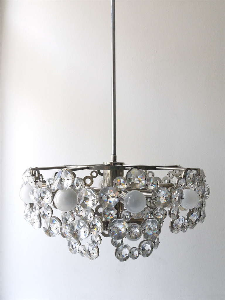 Metal Lobmeyr Austria Chandelier with Big Faceted Crystals from the 1960s For Sale