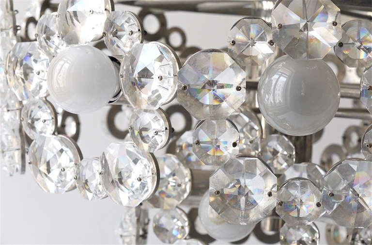 Lobmeyr Austria Chandelier with Big Faceted Crystals from the 1960s For Sale 2