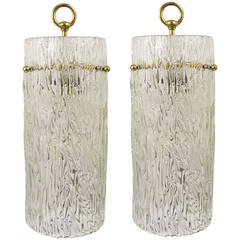 Two Matching Pair of Kalmar Glass Tube Brass Pendant Lamps, Austria, 1950s