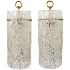 Two Matching Pair of Kalmar Glass Tube Brass Pendant Lamps, Austria, 1950s