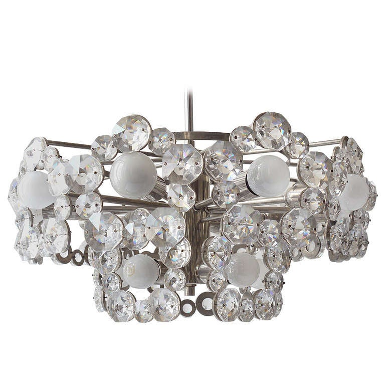Lobmeyr Austria Chandelier with Big Faceted Crystals from the 1960s