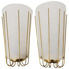 Pair of Large Mid-Century Brass Sconces by Kalmar, Austria, 1950s