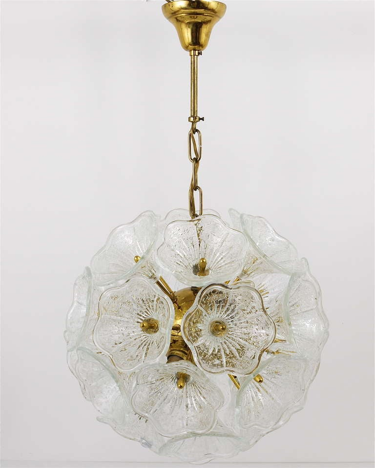 Italian Sputnik Glass Flowers Chandelier Brass Blowball