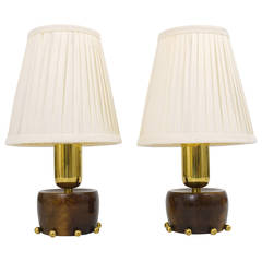 A Charming Pair Austrian Mid-Century Brass Side Lamps, 1950s