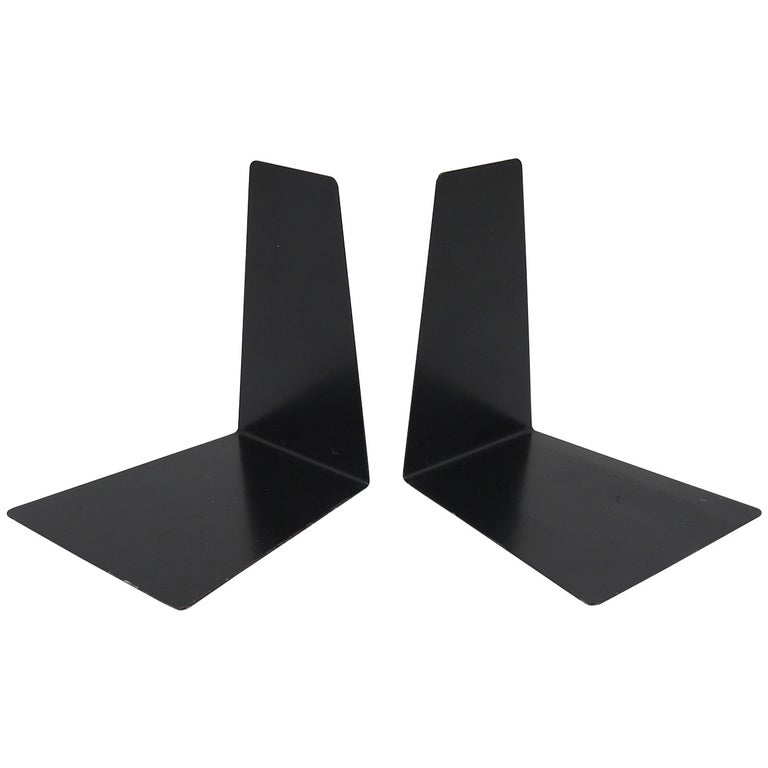 Bauhaus Black Metal Bookends by Marianne Brandt, 1930s for Ruppel, Germany For Sale