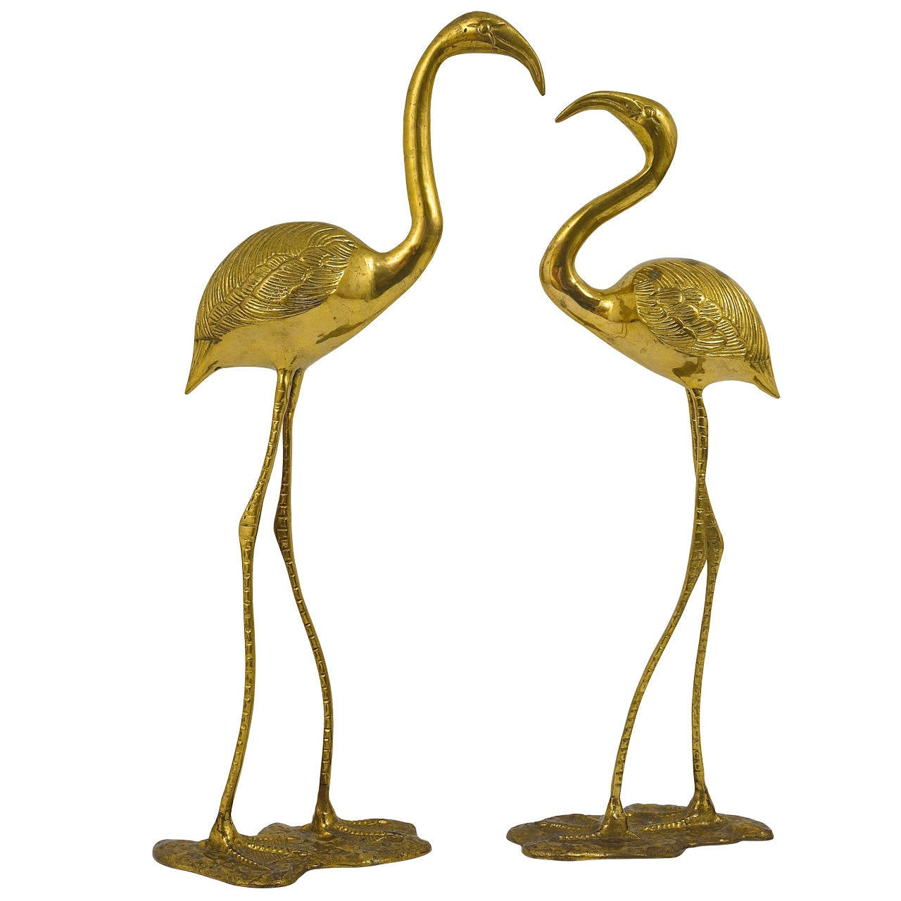 A Beautiful Pair Of French Brass Flamingo Sculptures, 1970s, France 1