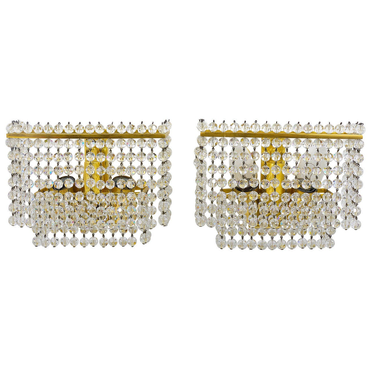 Pair of Lobmeyr Square Gold-Plated Brass Sconces with Hand-Cut Crystals, 1970s