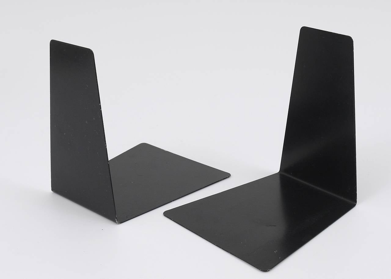 Bauhaus Black Metal Bookends By Marianne Brandt 1930s For Ruppel Germany In Good Condition