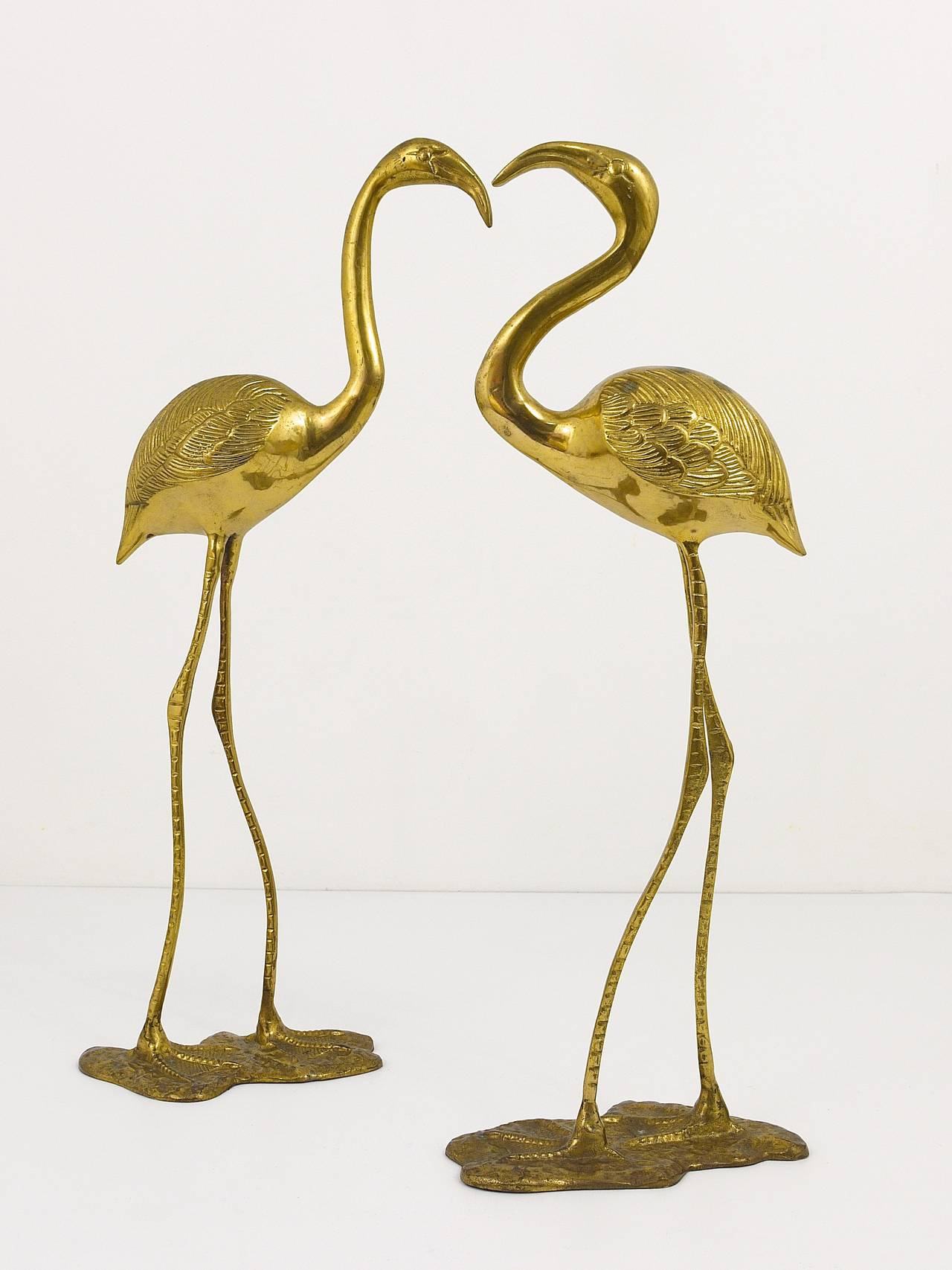 A Beautiful Pair Of French Brass Flamingo Sculptures, 1970s ...