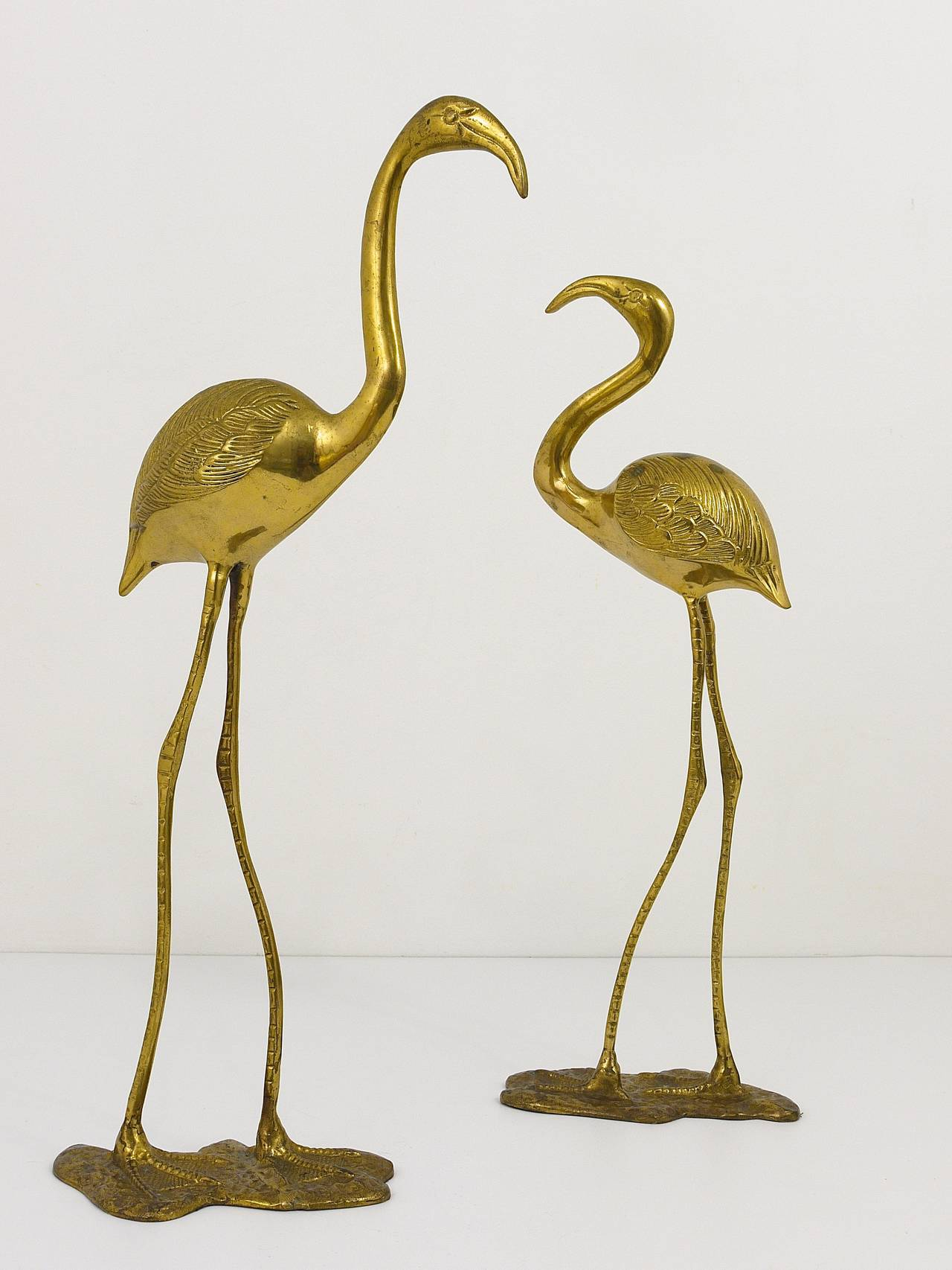 A Beautiful Pair Of French Brass Flamingo Sculptures, 1970s, France 3