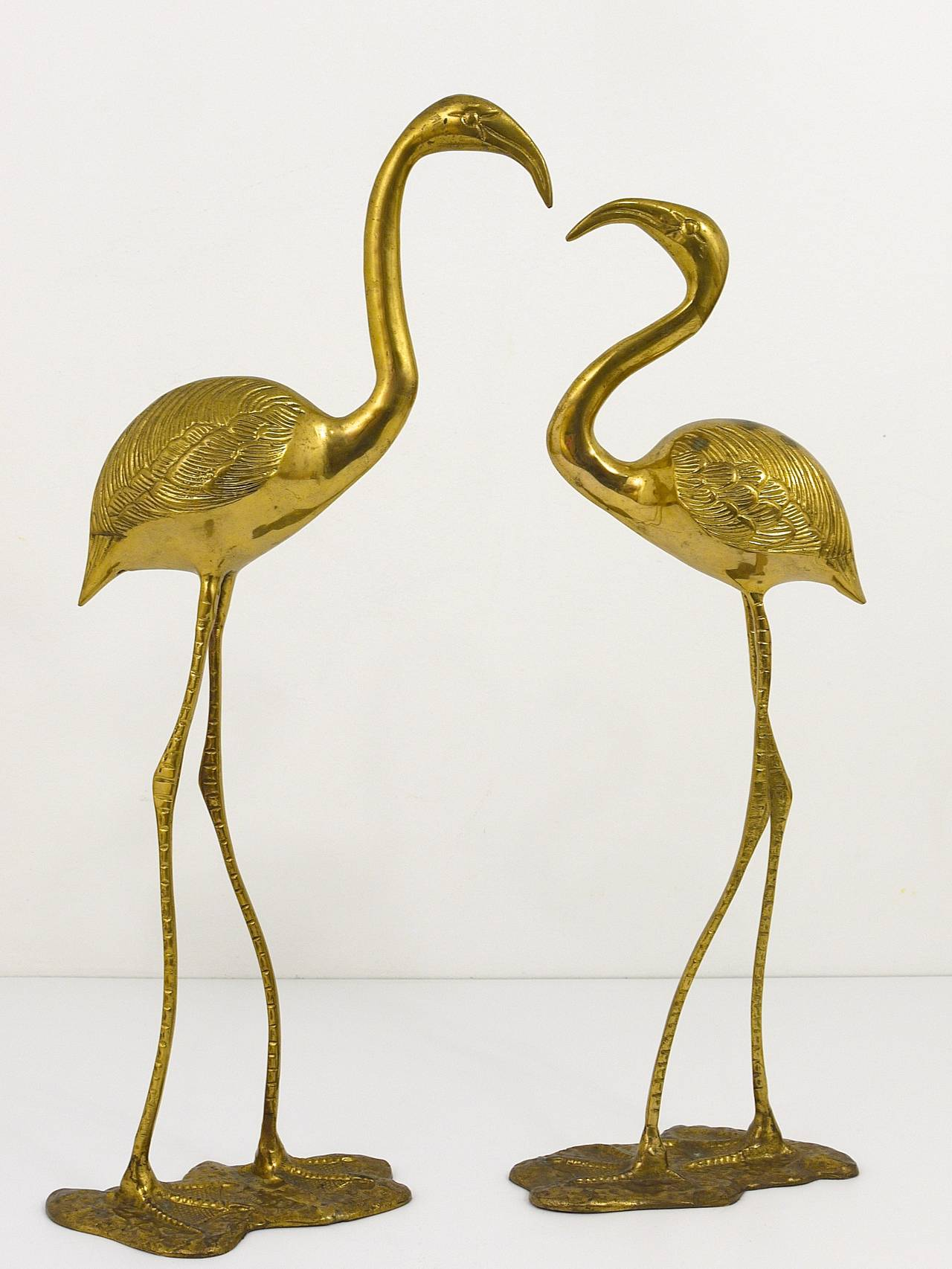 A Beautiful Pair Of French Brass Flamingo Sculptures, 1970s, France 4