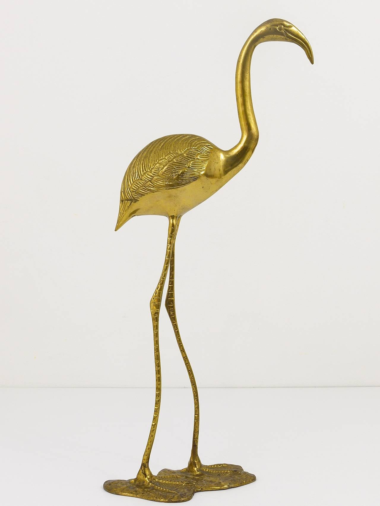 A Beautiful Pair Of French Brass Flamingo Sculptures, 1970s, France 6