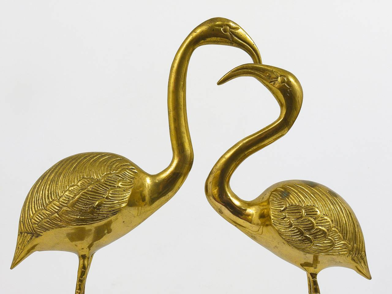 A Beautiful Pair Of French Brass Flamingo Sculptures, 1970s, France 8