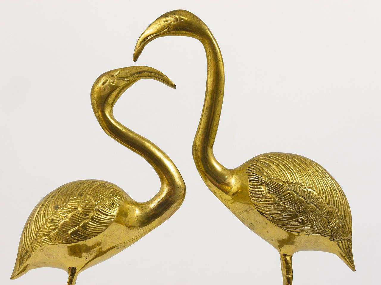 A Beautiful Pair Of French Brass Flamingo Sculptures, 1970s, France 10