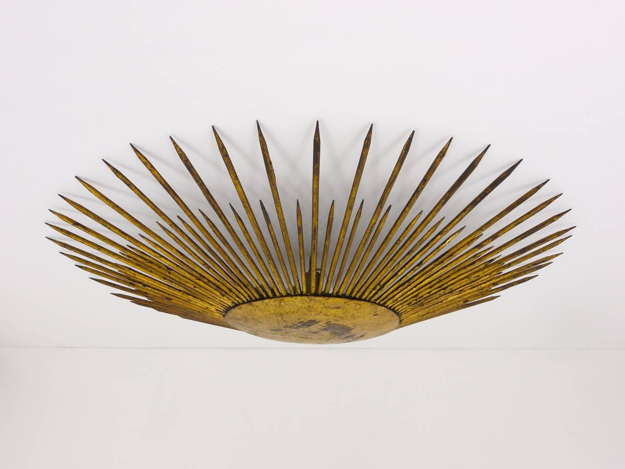 Plafoniere De Metal : French sunburst starburst flush mount plafoniere ceiling lamp
