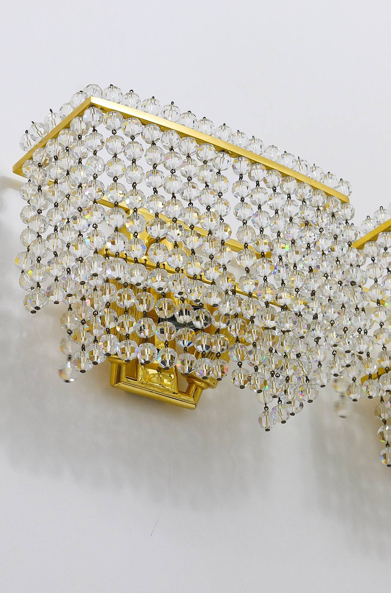 Austrian Pair of Lobmeyr Square Gold-Plated Brass Sconces with Hand-Cut Crystals, 1970s  For Sale