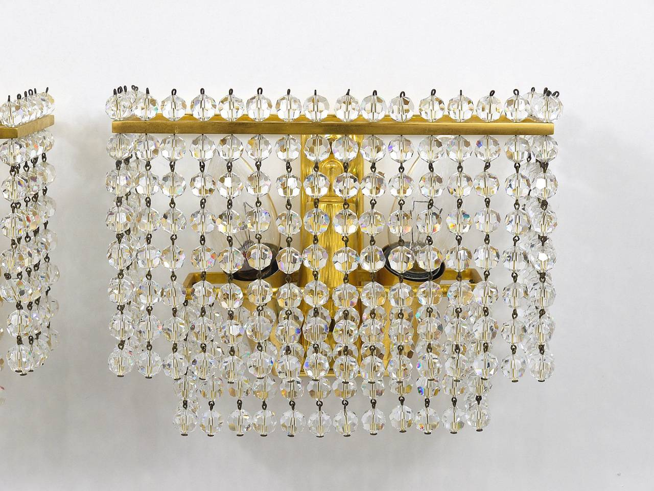 Pair of Lobmeyr Square Gold-Plated Brass Sconces with Hand-Cut Crystals, 1970s  For Sale 2