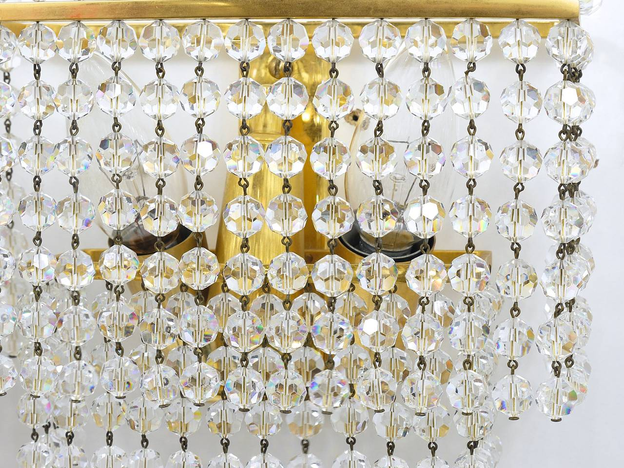 Pair of Lobmeyr Square Gold-Plated Brass Sconces with Hand-Cut Crystals, 1970s  For Sale 3