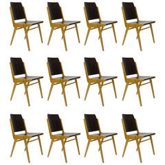 Up to 12 Austro Chair Stacking Chairs by Franz Schuster, Wiesner-Hager