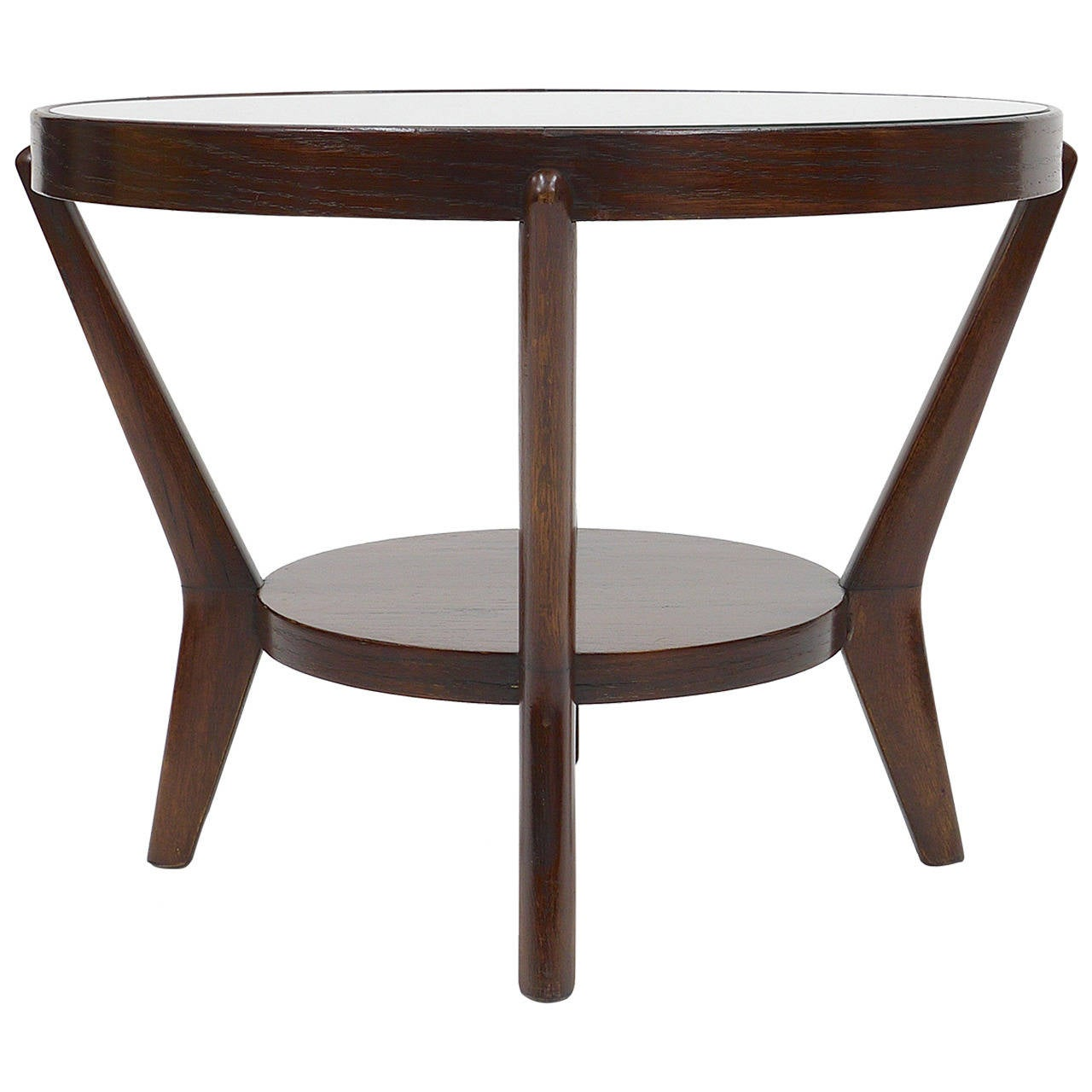 1930s Round Art Deco Side Table by Jindrich Halabala, Excellent Condition