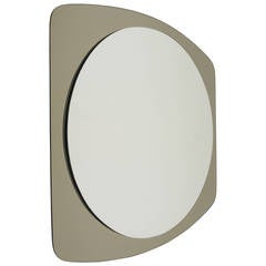 A Beautiful Oval Grey Crystal Arte Mid-Century Wall Mirror, Italy, 1970s