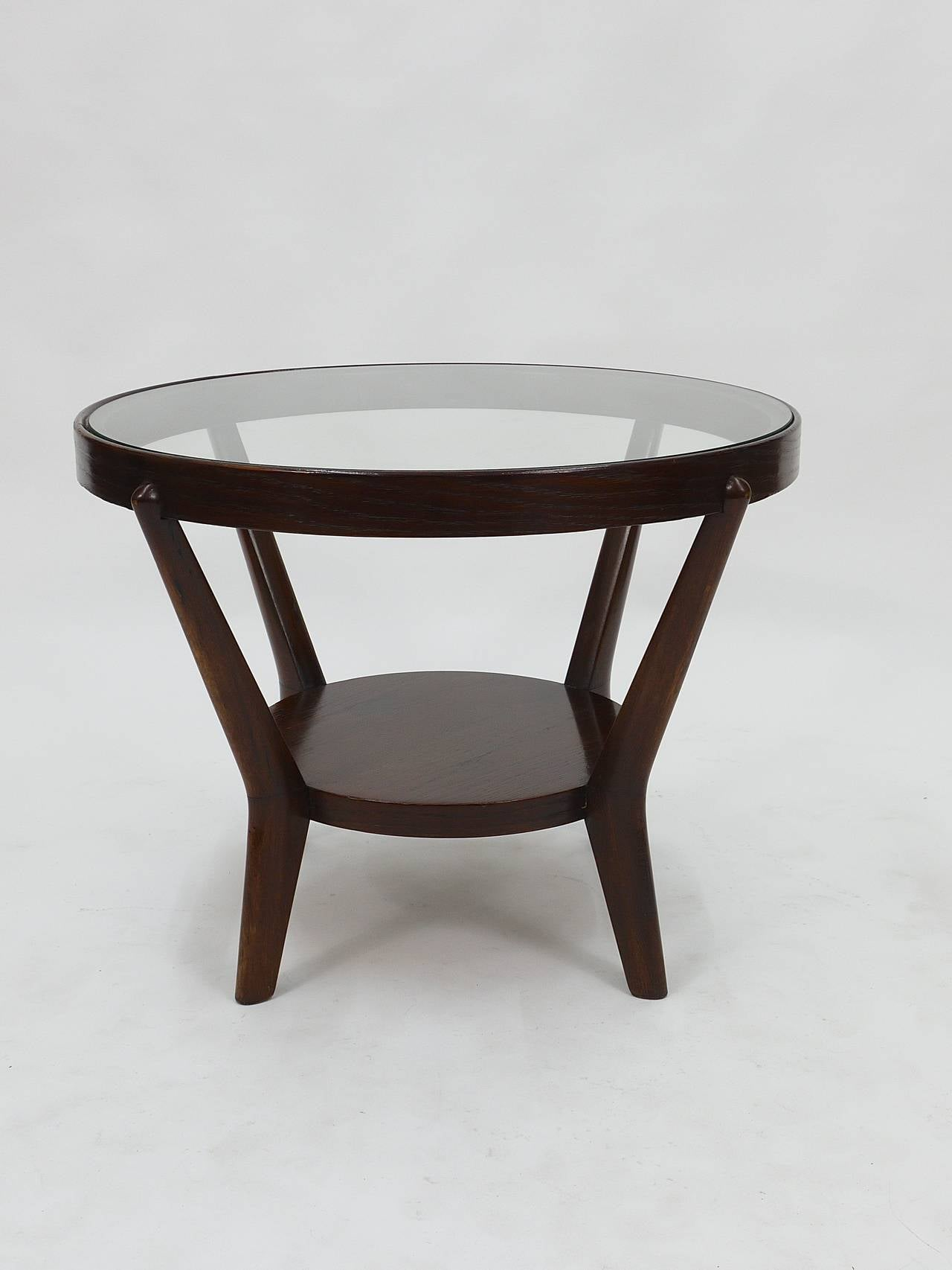 Charming 1930s Round Art Deco Side Table By Jindrich Halabala, Excellent Condition 3