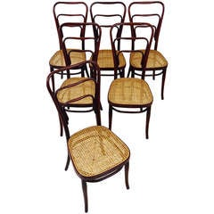 Set of 6 Adolf Loos Thonet Vienna Café Museum Art Nouveau Bentwood Chairs