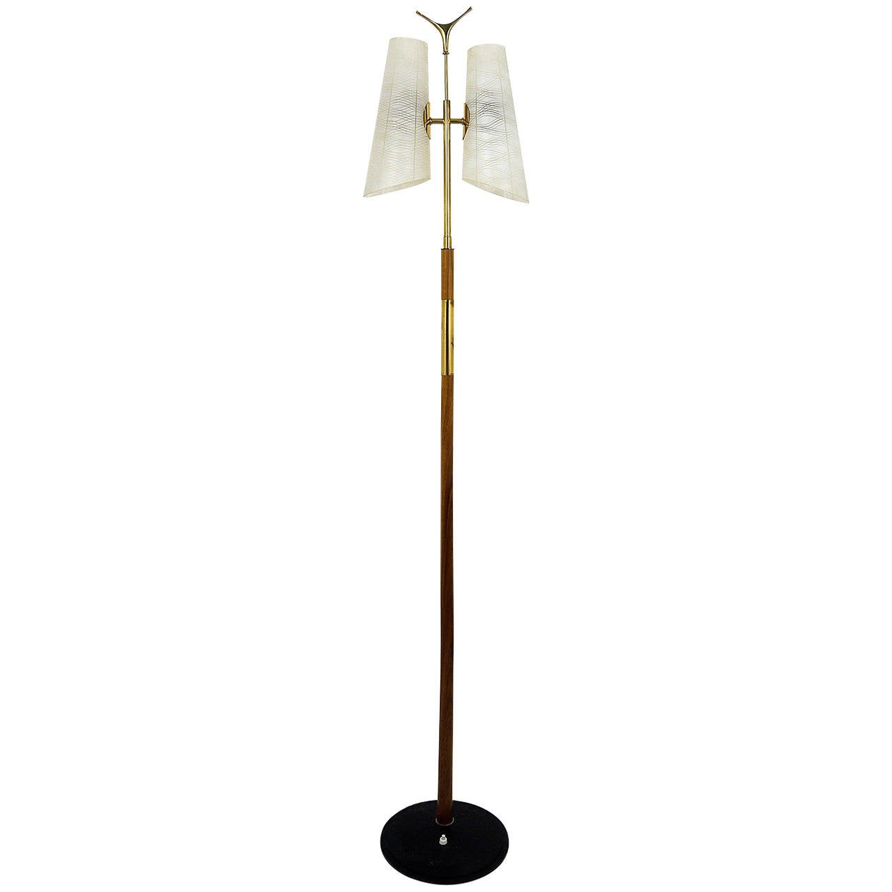 A Charming Rupert Nikoll Mid-Century Brass Floor Lamp, Austria, 1950s