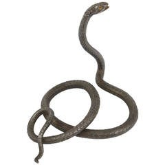 A Hand-Forged Iron Model Of A Snake, Snake Sculpture, Vienna, 1920s