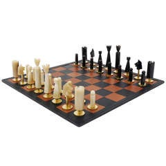 Carl Aubock Modernist Horn Brass Chess Game with Leatherboard