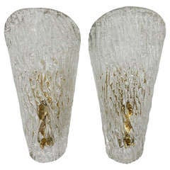 Pair of Kalmar Mid-Century Brass Glass Sconces Wall Lamps, Austria, 1950s