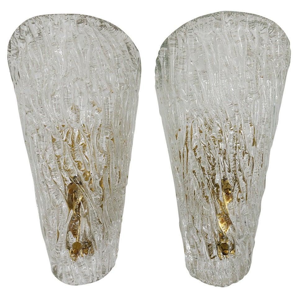 Pair of Kalmar Mid-Century Brass Glass Sconces Wall Lamps, Austria, 1950s