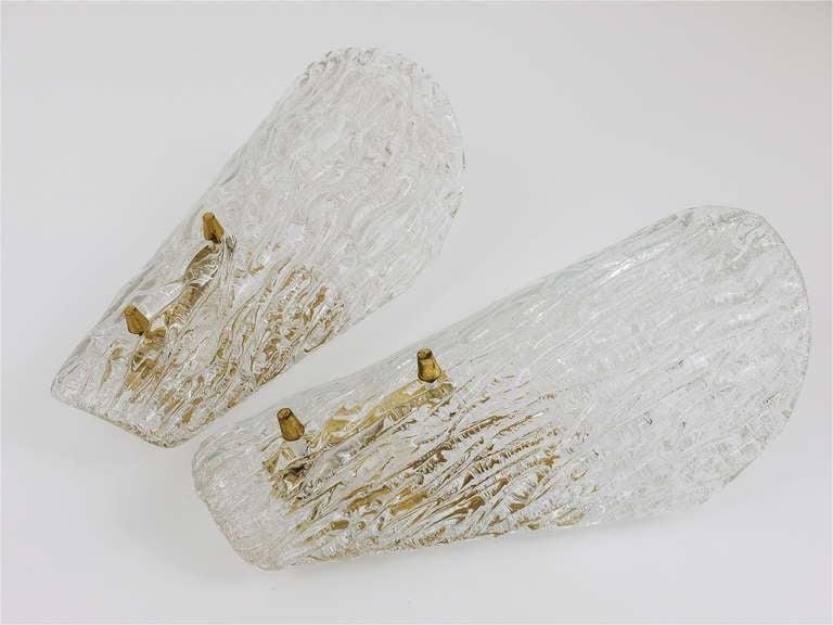 Pair of Kalmar Mid-Century Brass Glass Sconces Wall Lamps, Austria, 1950s For Sale 1
