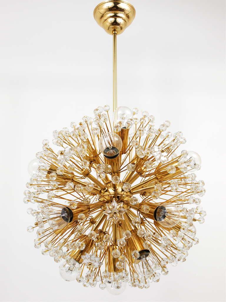 Gold plated blowball sputnik chandelier in the manner of for Sputnik chandelier