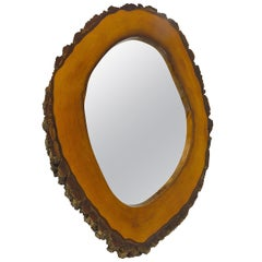 Modernist Walnut Wall Mirror, Austria, 1950s