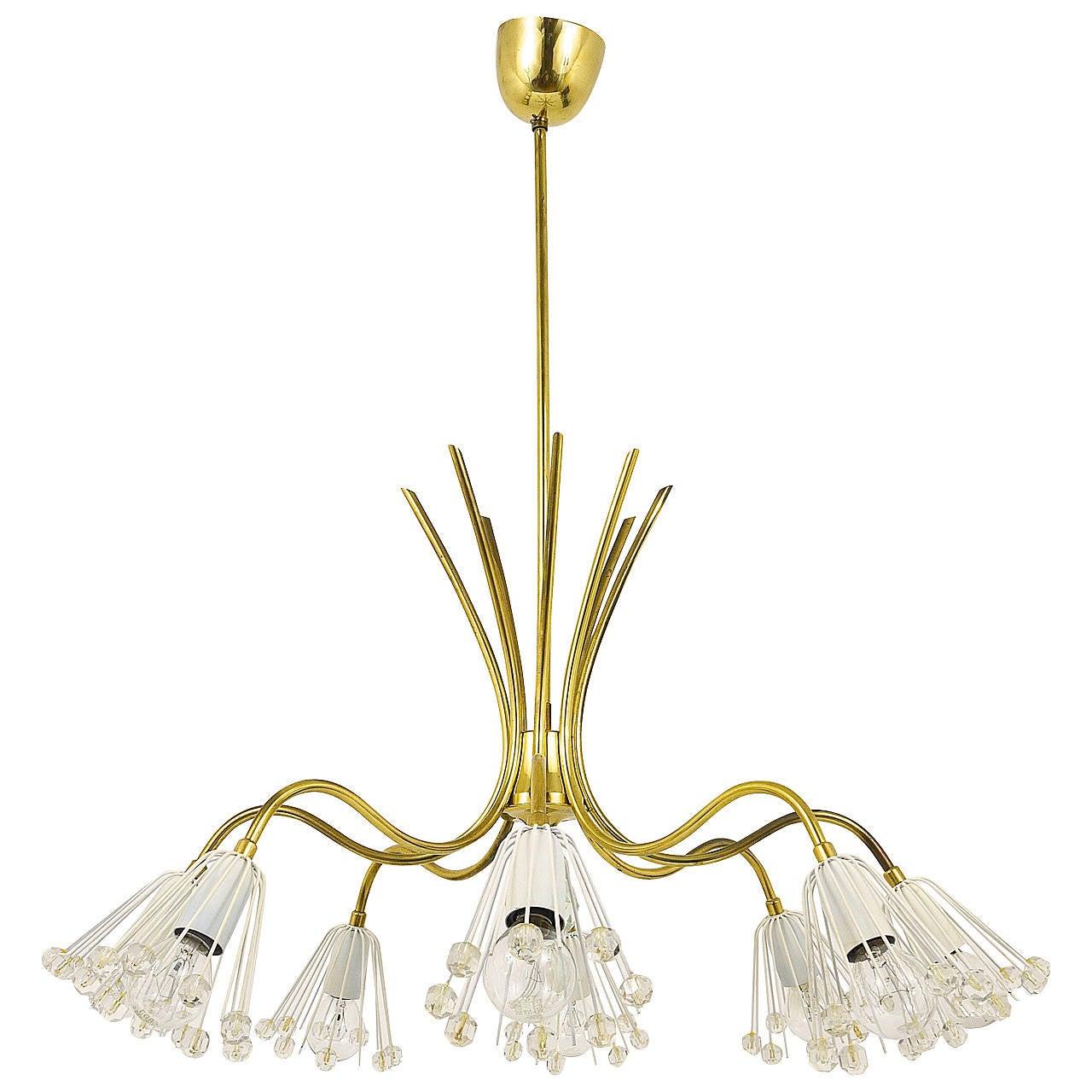 Floral Emil Stejnar Modernist Brass Chandelier, Rupert Nikoll, Austria, 1950s